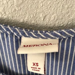 Merona Tops - Merona cold shoulder blue white striped top